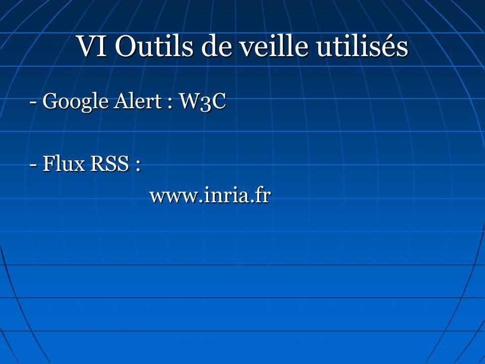 VI Outils de veille utilisés - Google Alert : W3C - Flux RSS : www.inria.fr www.inria.fr
