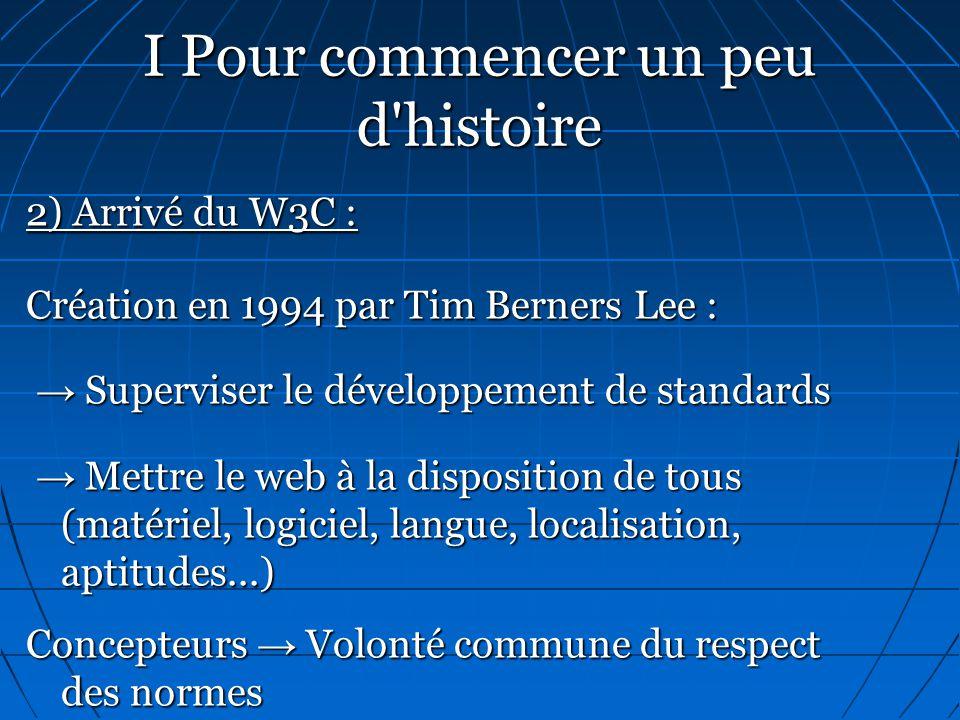 I Pour commencer un peu d'histoire 2) Arrivé du W3C : Création en 1994 par Tim Berners Lee : → Superviser le développement de standards → Superviser l