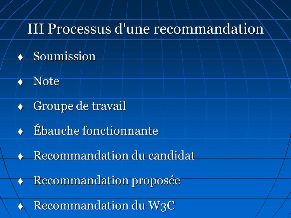 III Processus d une recommandation   Soumission   Note   Groupe de travail   Ébauche fonctionnante   Recommandation du candidat   Recommandation proposée   Recommandation du W3C