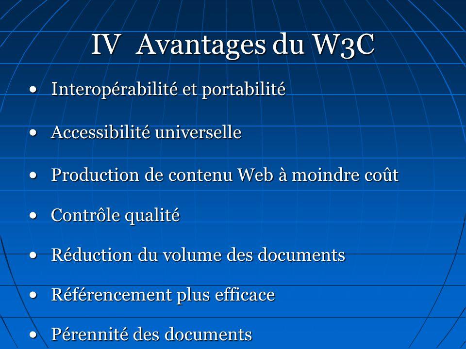 IV Avantages du W3C I nteropérabilité et portabilitéI nteropérabilité et portabilité Accessibilité universelle Accessibilité universelle Production de