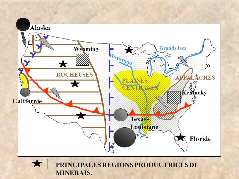 ROCHEUSES Alaska Californie Grands lacs PRINCIPALES REGIONS PRODUCTRICES DE MINERAIS. APPALACHES PLAINES CENTRALES Texas- Louisiane Wyoming Floride Mi