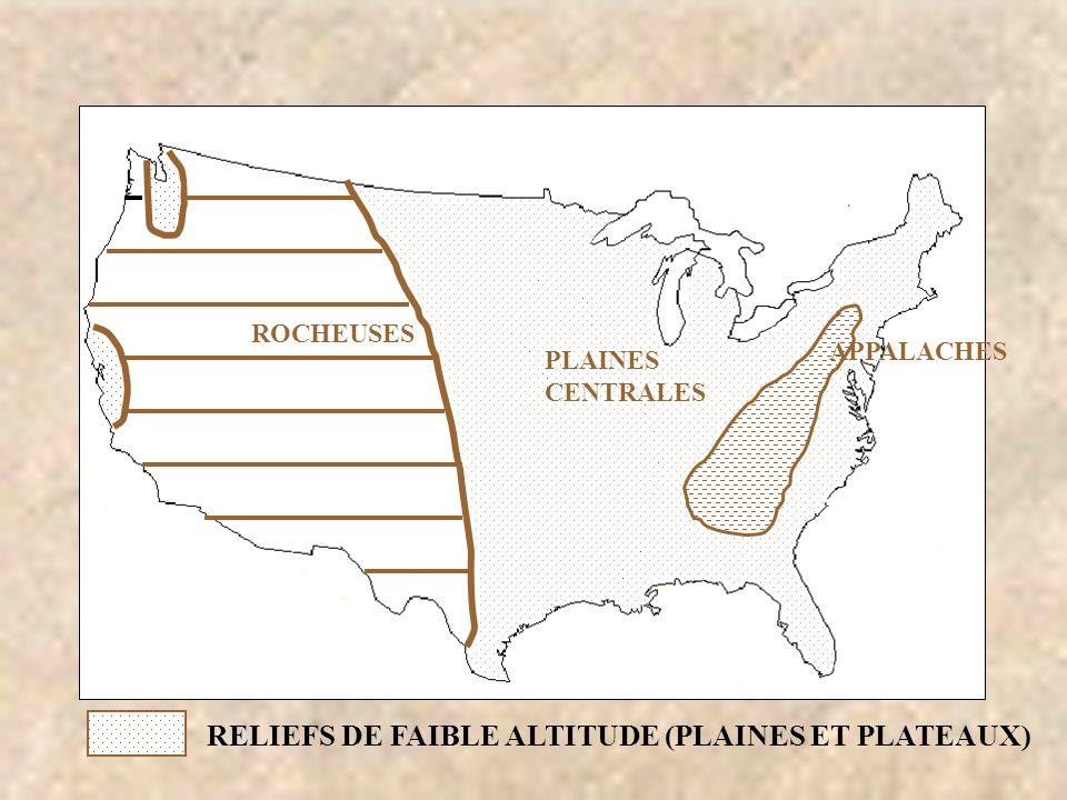 ROCHEUSES RELIEFS DE FAIBLE ALTITUDE (PLAINES ET PLATEAUX) PLAINES CENTRALES APPALACHES