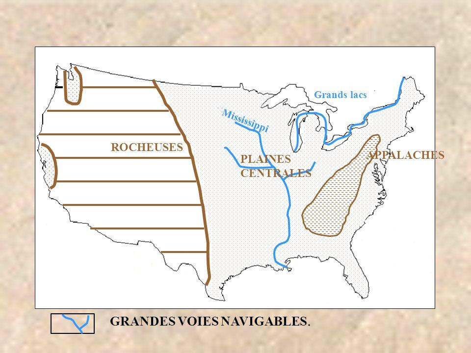 ROCHEUSES Mississippi Grands lacs GRANDES VOIES NAVIGABLES. APPALACHES PLAINES CENTRALES Mississippi