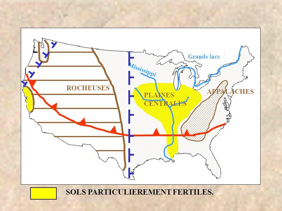 ROCHEUSES SOLS PARTICULIEREMENT FERTILES. APPALACHES Grands lacs PLAINES CENTRALES Mississippi