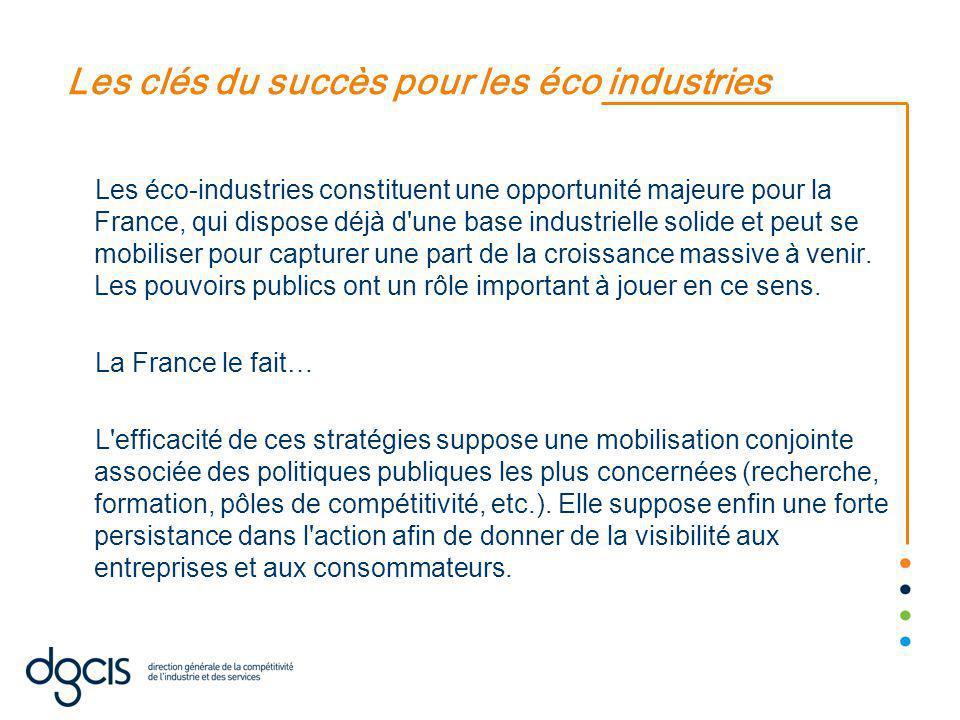 Les clés du succès pour les éco industries Les éco-industries constituent une opportunité majeure pour la France, qui dispose déjà d une base industrielle solide et peut se mobiliser pour capturer une part de la croissance massive à venir.