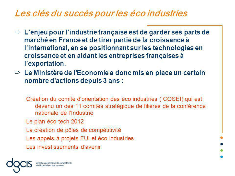 Les clés du succès pour les éco industries  L'enjeu pour l'industrie française est de garder ses parts de marché en France et de tirer partie de la croissance à l'international, en se positionnant sur les technologies en croissance et en aidant les entreprises françaises à l'exportation.