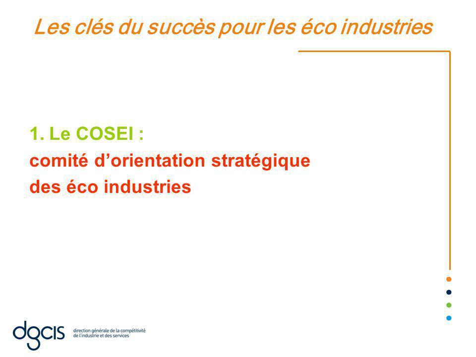 Les clés du succès pour les éco industries 1.Le COSEI : comité d'orientation stratégique des éco industries
