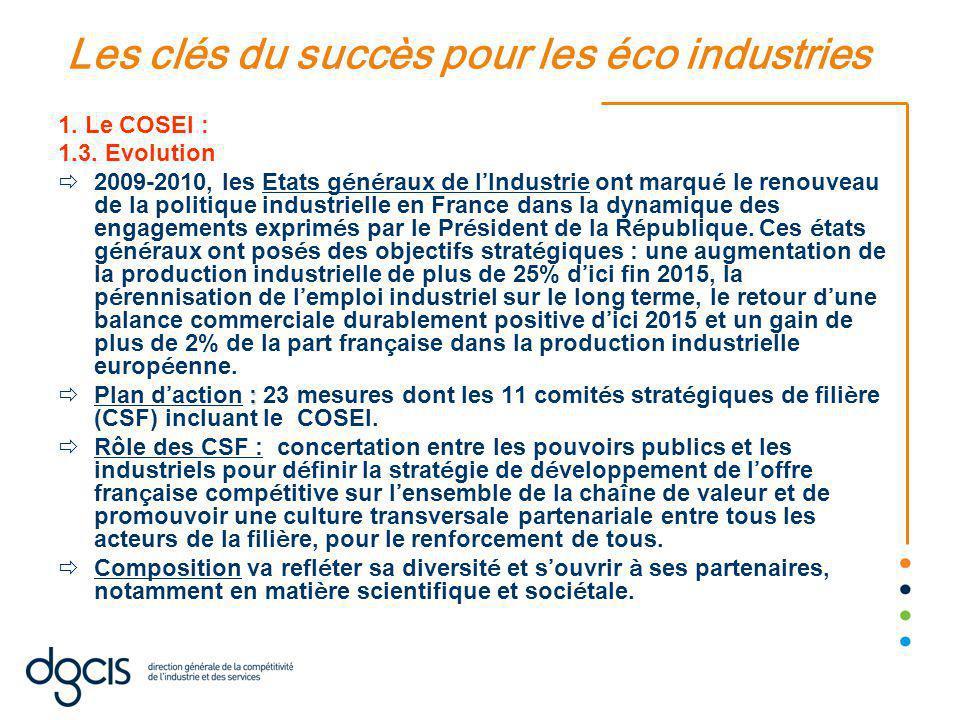 Les clés du succès pour les éco industries 1.Le COSEI : 1.3.
