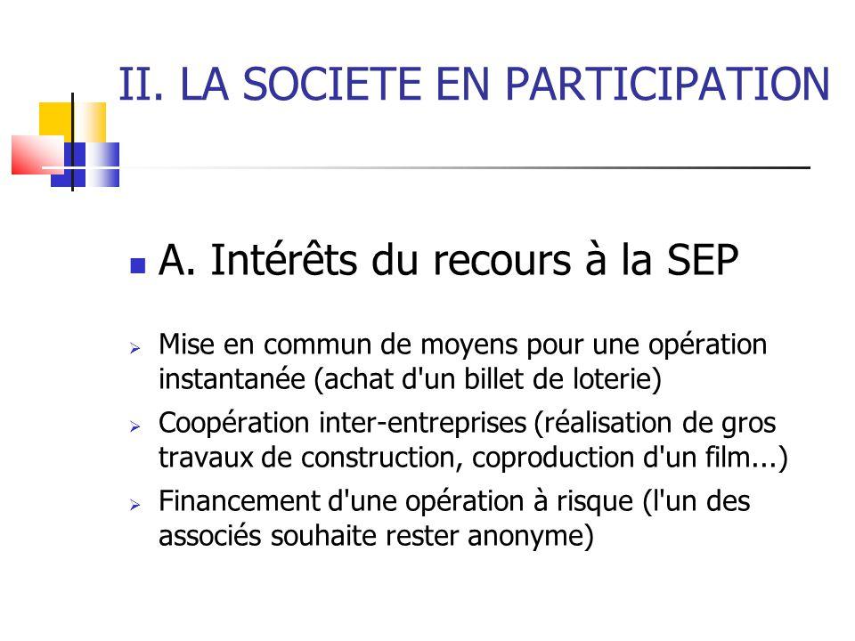II.LA SOCIETE EN PARTICIPATION A.