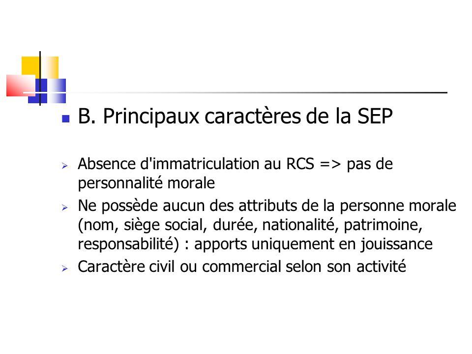 B. Principaux caractères de la SEP  Absence d'immatriculation au RCS => pas de personnalité morale  Ne possède aucun des attributs de la personne mo