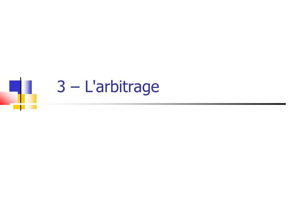 3 – L arbitrage