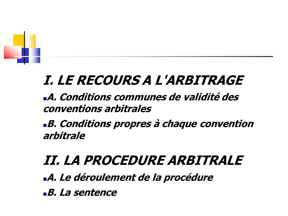 I. LE RECOURS A L ARBITRAGE A. Conditions communes de validité des conventions arbitrales B.