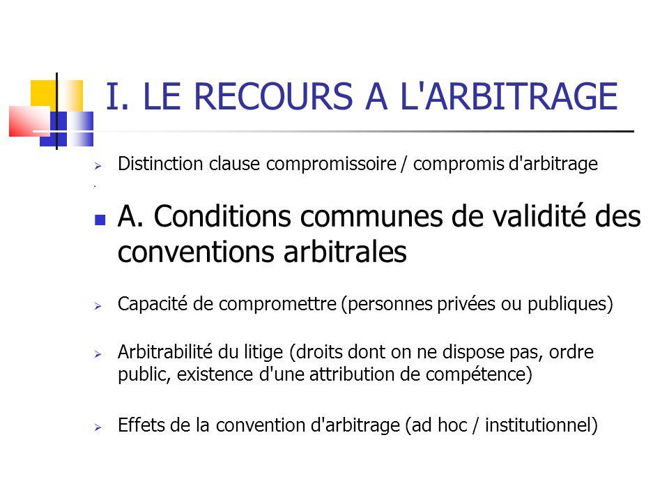 I. LE RECOURS A L ARBITRAGE  Distinction clause compromissoire / compromis d arbitrage  A.