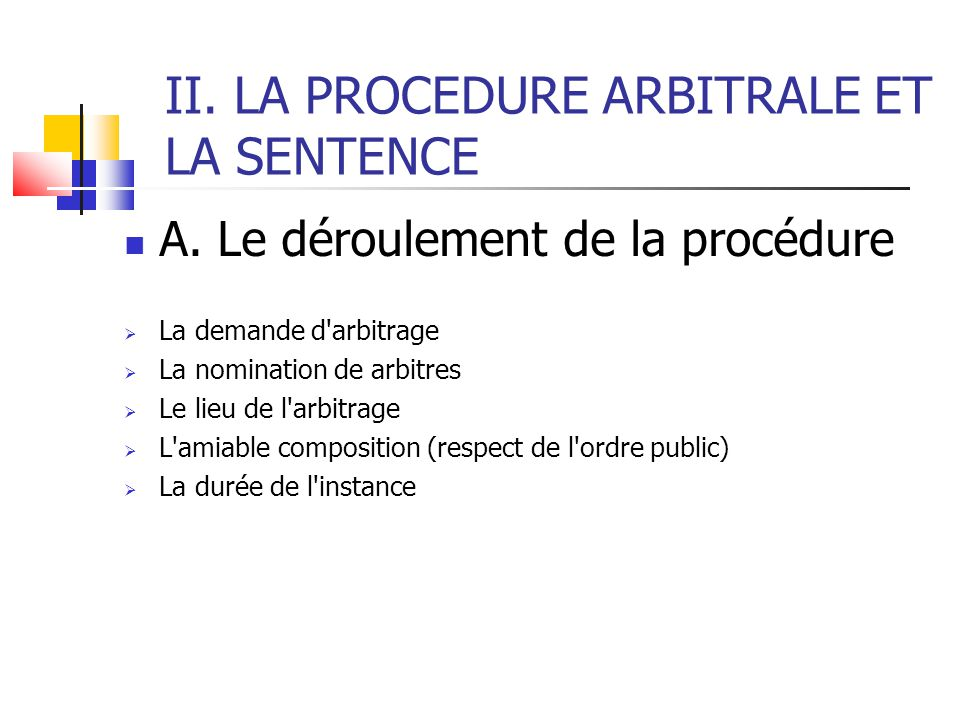 II. LA PROCEDURE ARBITRALE ET LA SENTENCE A.