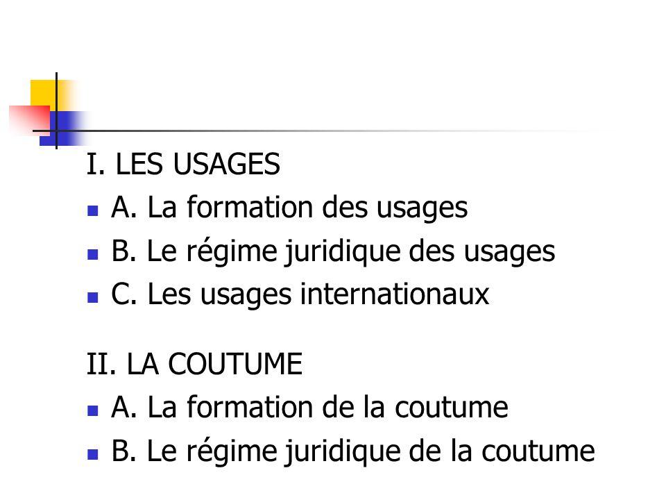 I. LES USAGES A. La formation des usages B. Le régime juridique des usages C.