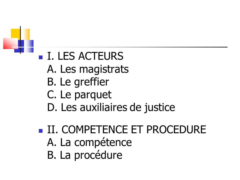 I. LES ACTEURS A. Les magistrats B. Le greffier C. Le parquet D. Les auxiliaires de justice II. COMPETENCE ET PROCEDURE A. La compétence B. La procédu