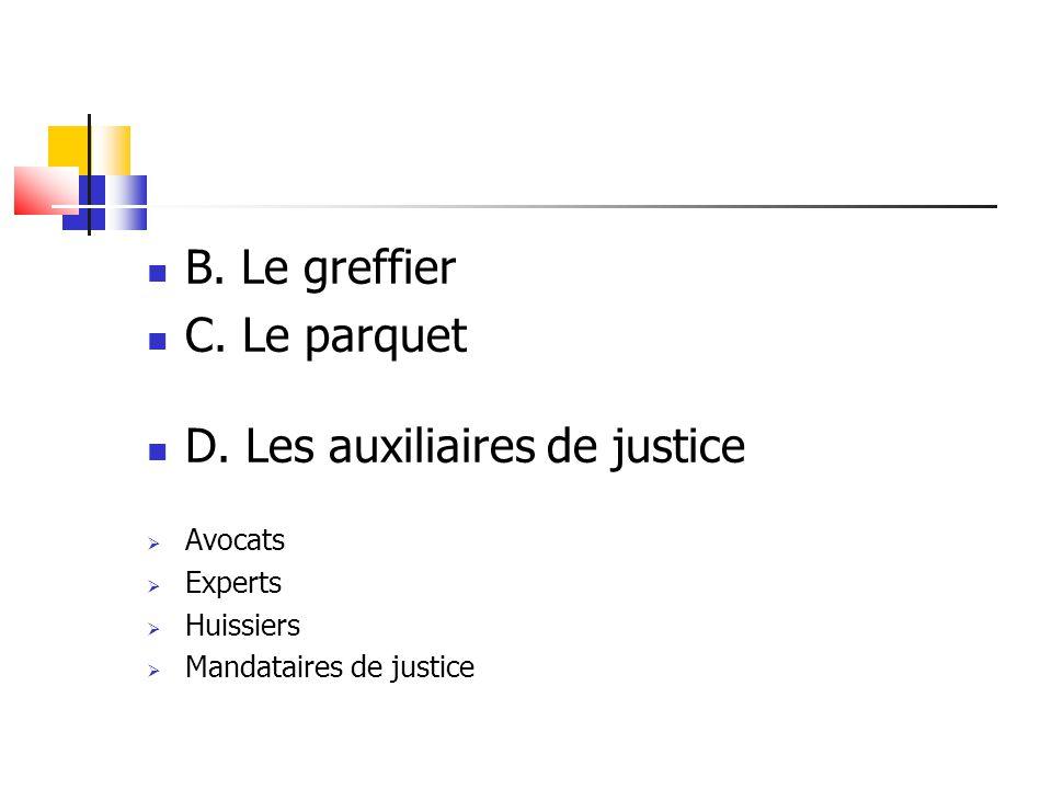 B. Le greffier C. Le parquet D. Les auxiliaires de justice  Avocats  Experts  Huissiers  Mandataires de justice