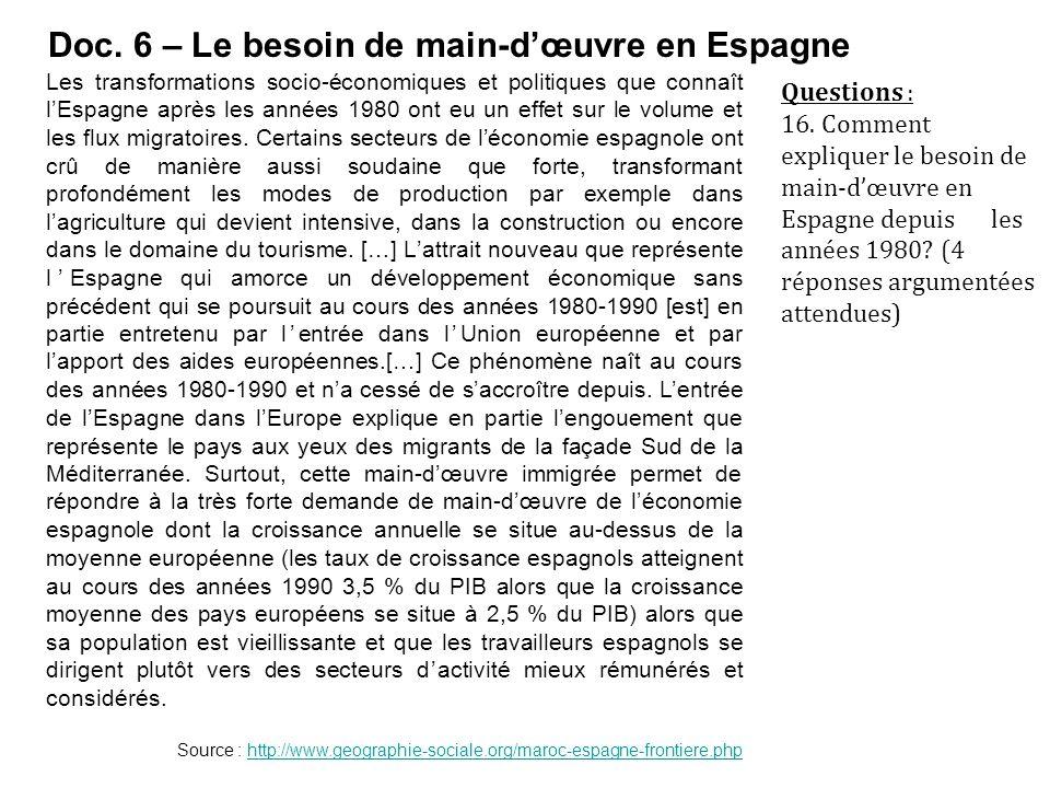 Doc. 6 – Le besoin de main-d'œuvre en Espagne Les transformations socio-économiques et politiques que connaît l'Espagne après les années 1980 ont eu u