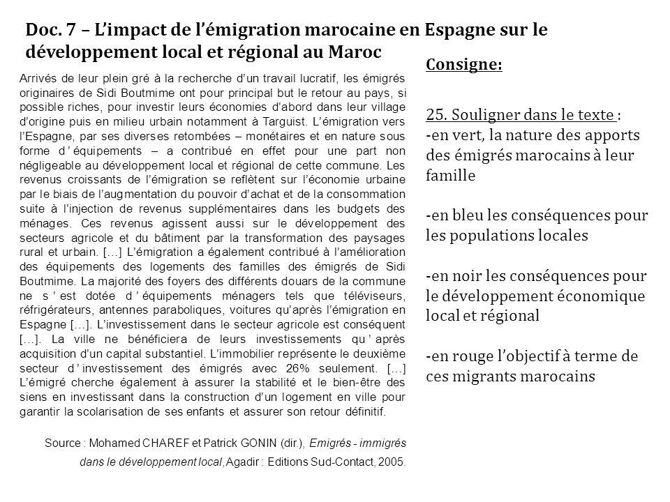 Doc. 7 – L'impact de l'émigration marocaine en Espagne sur le développement local et régional au Maroc Arrivés de leur plein gré à la recherche d'un t
