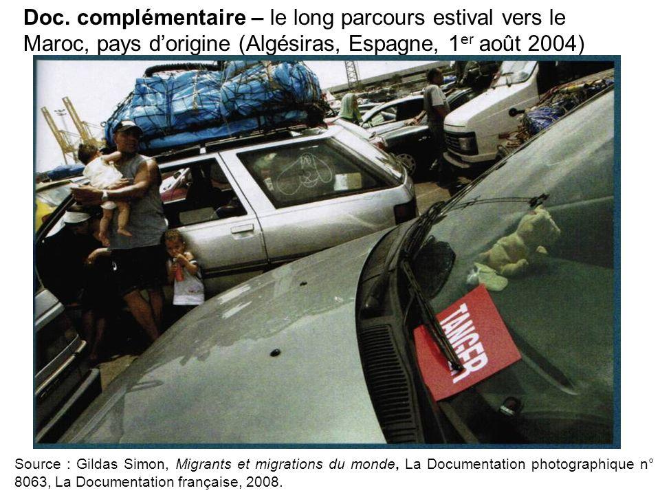 Source : Gildas Simon, Migrants et migrations du monde, La Documentation photographique n° 8063, La Documentation française, 2008. Doc. complémentaire
