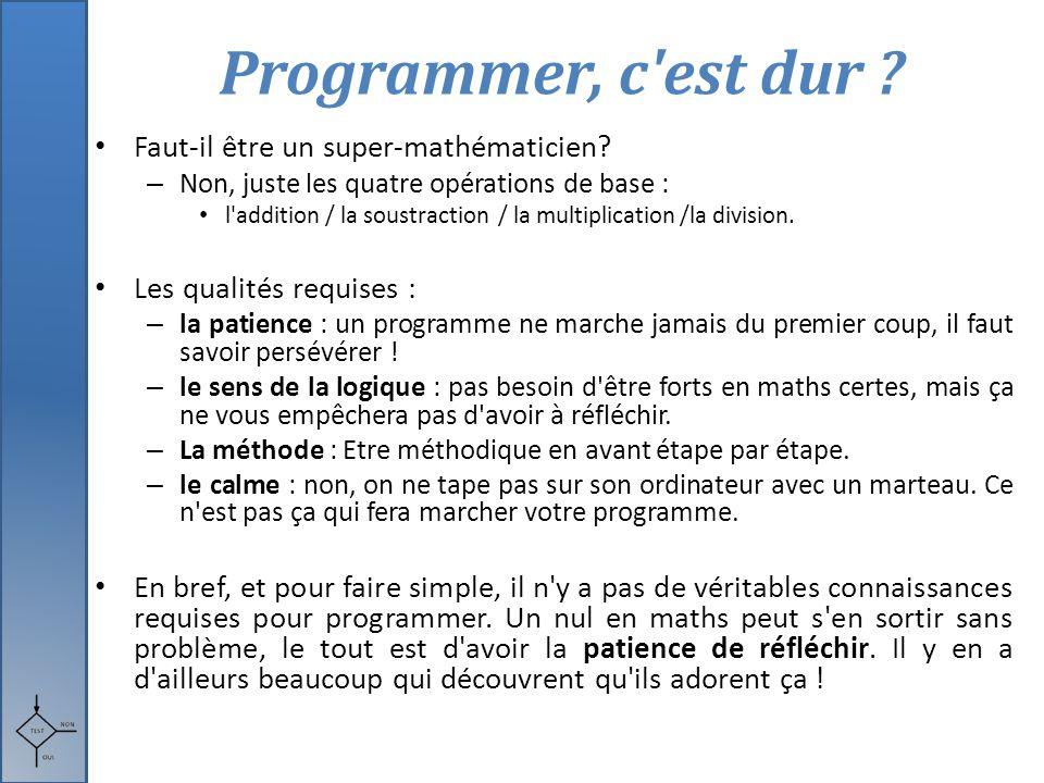 Programmer, c'est dur ? Faut-il être un super-mathématicien? – Non, juste les quatre opérations de base : l'addition / la soustraction / la multiplica