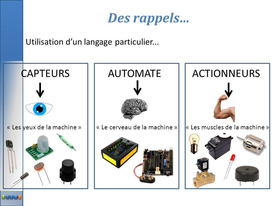 CAPTEURS AUTOMATE ACTIONNEURS « Les yeux de la machine » « Le cerveau de la machine »« Les muscles de la machine » Des rappels… Utilisation d'un langa