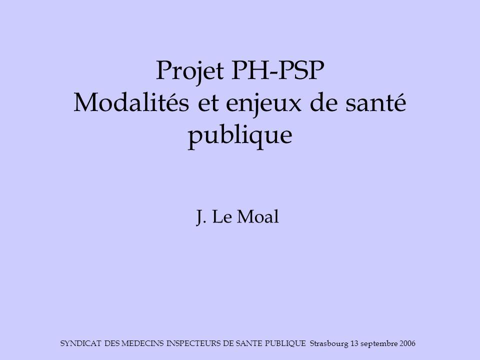 SYNDICAT DES MEDECINS INSPECTEURS DE SANTE PUBLIQUE Strasbourg 13 septembre 2006 Projet PH-PSP Modalités et enjeux de santé publique J. Le Moal