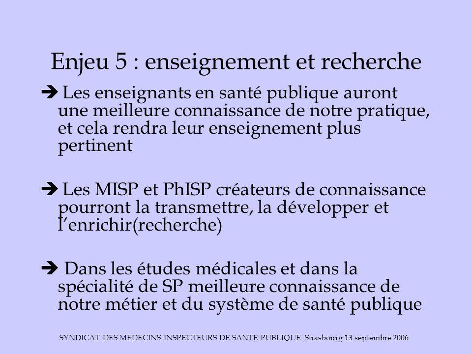 SYNDICAT DES MEDECINS INSPECTEURS DE SANTE PUBLIQUE Strasbourg 13 septembre 2006 Enjeu 5 : enseignement et recherche  Les enseignants en santé publiq