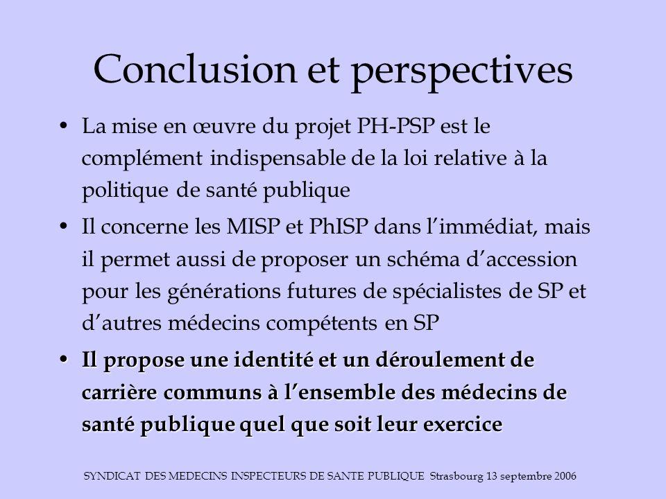 SYNDICAT DES MEDECINS INSPECTEURS DE SANTE PUBLIQUE Strasbourg 13 septembre 2006 Conclusion et perspectives La mise en œuvre du projet PH-PSP est le c