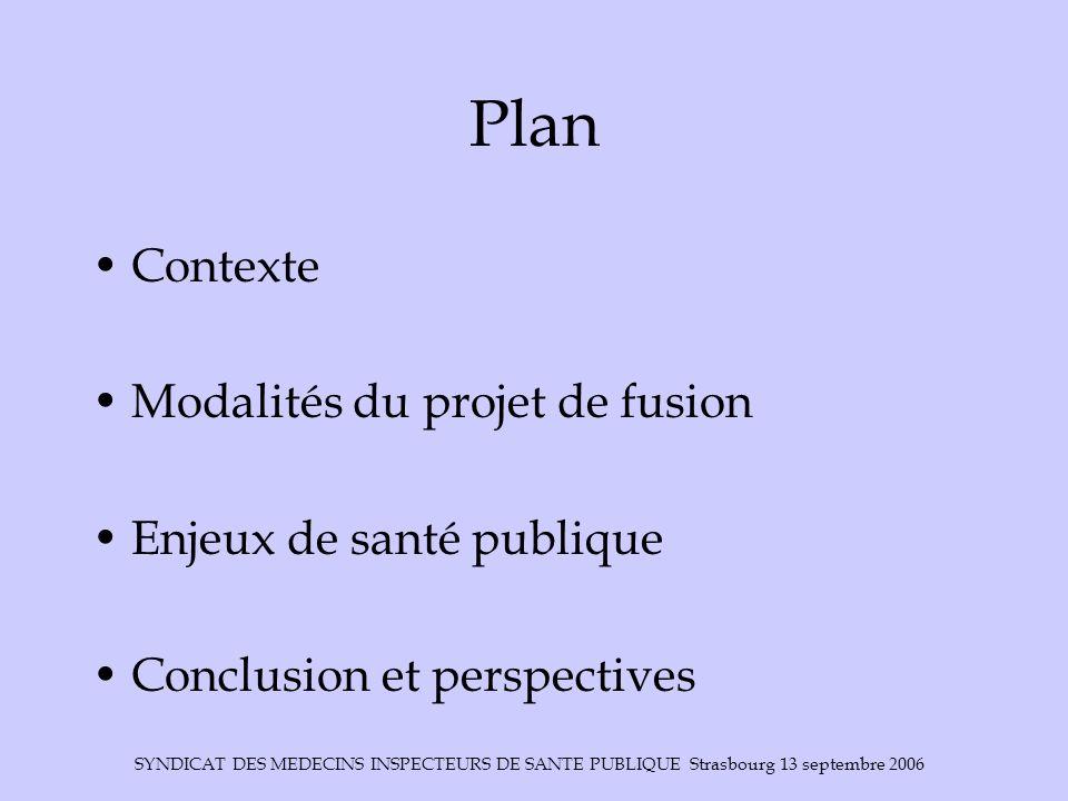 SYNDICAT DES MEDECINS INSPECTEURS DE SANTE PUBLIQUE Strasbourg 13 septembre 2006 Plan Contexte Modalités du projet de fusion Enjeux de santé publique Conclusion et perspectives