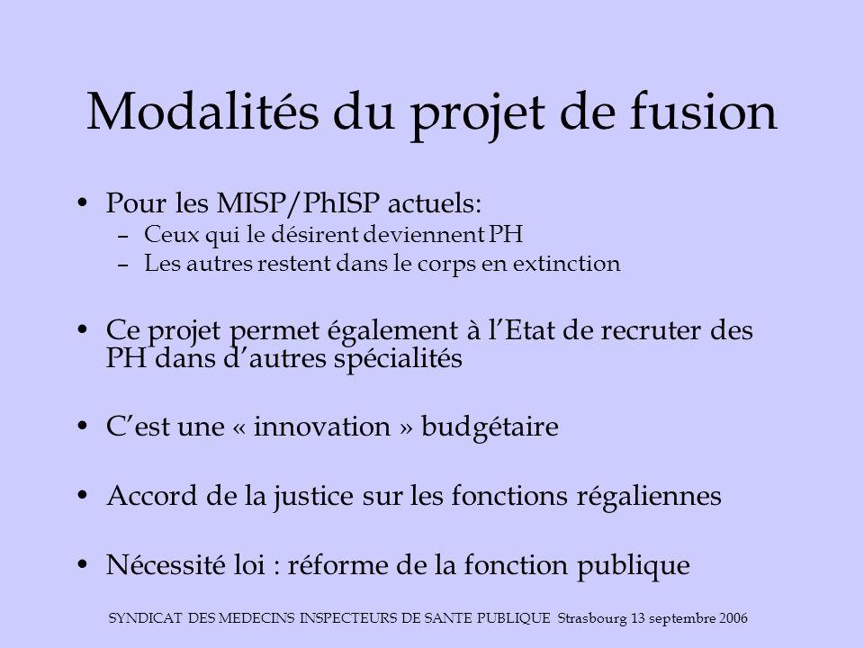 SYNDICAT DES MEDECINS INSPECTEURS DE SANTE PUBLIQUE Strasbourg 13 septembre 2006 Modalités du projet de fusion Pour les MISP/PhISP actuels: –Ceux qui