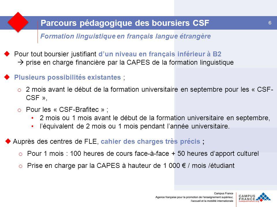 Formation linguistique en français langue étrangère 6 Parcours pédagogique des boursiers CSF  Pour tout boursier justifiant d'un niveau en français inférieur à B2  prise en charge financière par la CAPES de la formation linguistique  Plusieurs possibilités existantes ; o 2 mois avant le début de la formation universitaire en septembre pour les « CSF- CSF », o Pour les « CSF-Brafitec » ; 2 mois ou 1 mois avant le début de la formation universitaire en septembre, l'équivalent de 2 mois ou 1 mois pendant l'année universitaire.