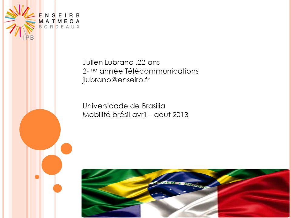 Julien Lubrano,22 ans 2 ème année,Télécommunications jlubrano@enseirb.fr Universidade de Brasilia Mobilité brésil avril – aout 2013