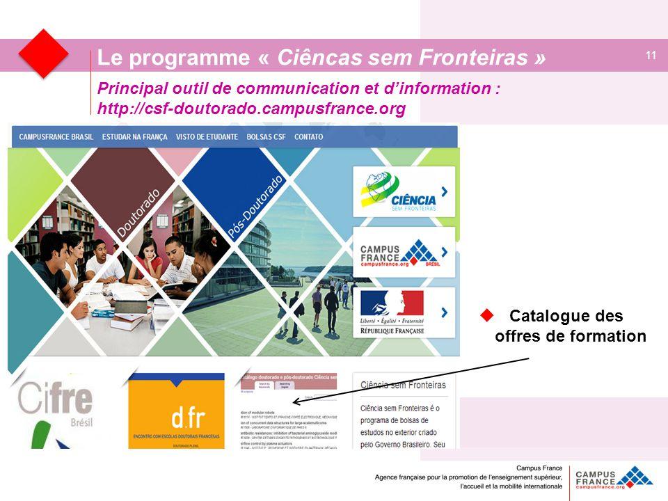 Principal outil de communication et d'information : http://csf-doutorado.campusfrance.org 11 Le programme « Ciêncas sem Fronteiras »  Catalogue des offres de formation