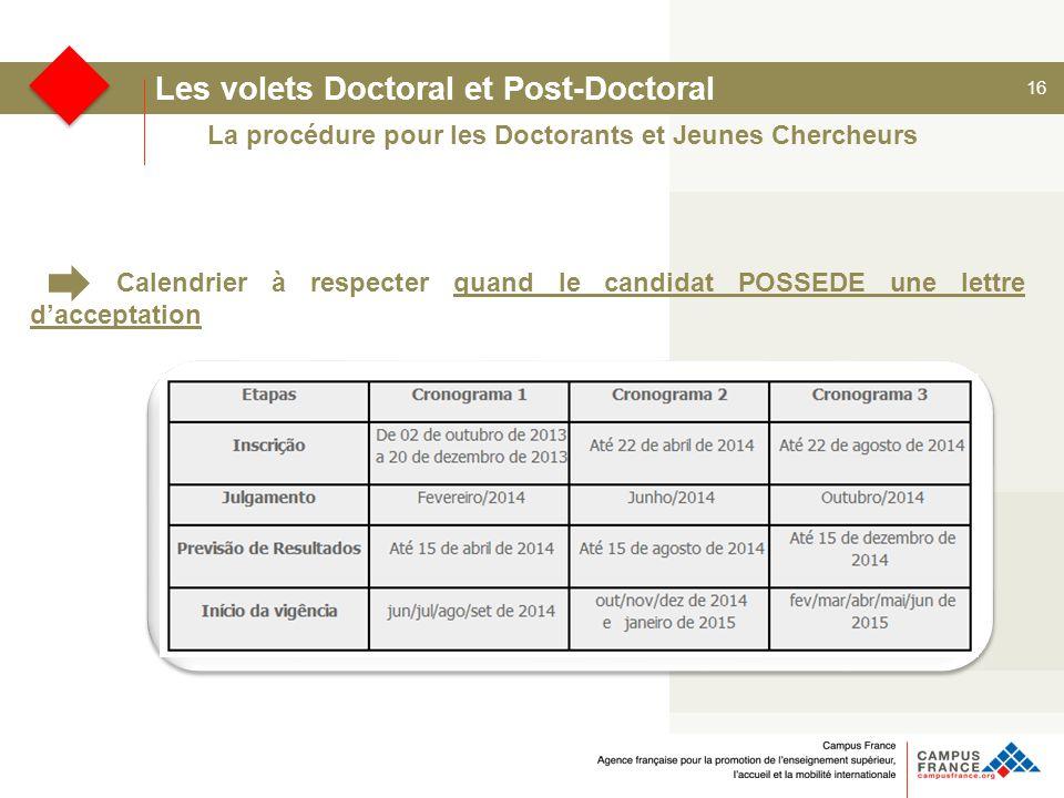 16 Les volets Doctoral et Post-Doctoral Calendrier à respecter quand le candidat POSSEDE une lettre d'acceptation La procédure pour les Doctorants et Jeunes Chercheurs