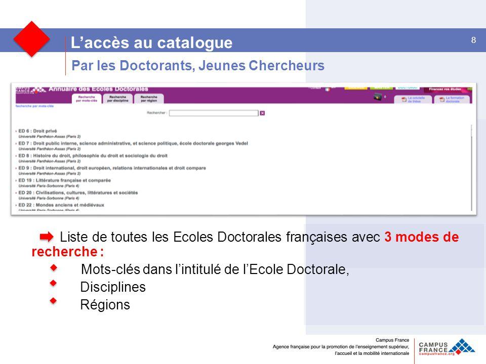 8 L'accès au catalogue Liste de toutes les Ecoles Doctorales françaises avec 3 modes de recherche : Mots-clés dans l'intitulé de l'Ecole Doctorale, Disciplines Régions Par les Doctorants, Jeunes Chercheurs