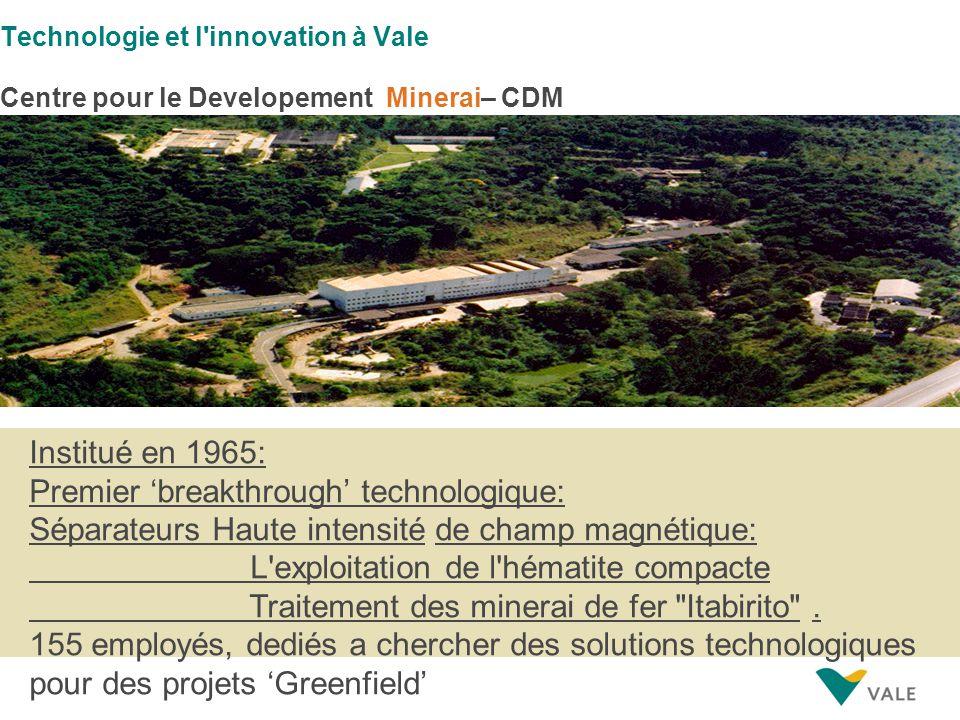Institué en 1965: Premier 'breakthrough' technologique: Séparateurs Haute intensité de champ magnétique: L exploitation de l hématite compacte Traitement des minerai de fer Itabirito .