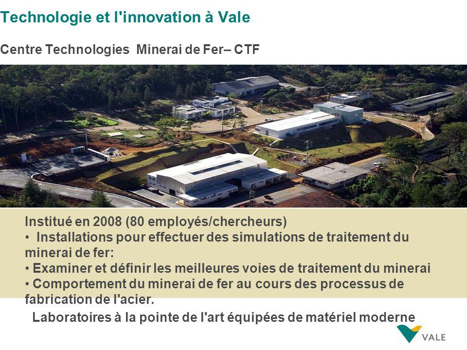Institué en 2008 (80 employés/chercheurs) Installations pour effectuer des simulations de traitement du minerai de fer: Examiner et définir les meille