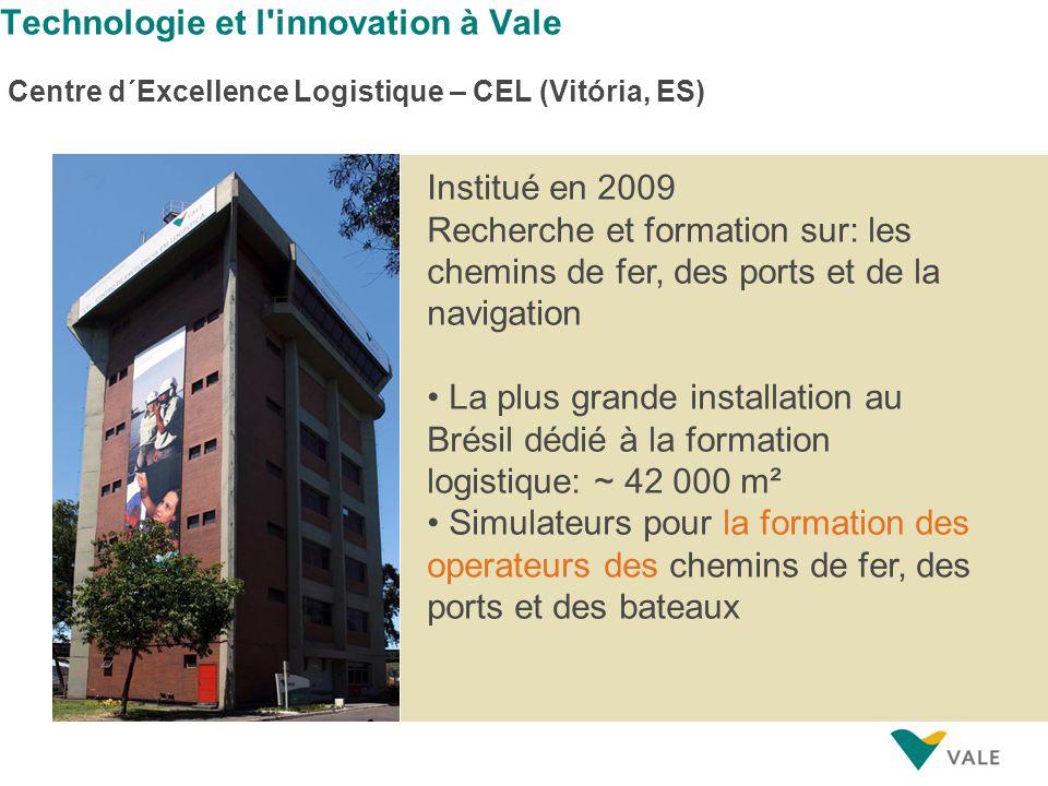Technologie et l'innovation à Vale Centre d´Excellence Logistique – CEL (Vitória, ES) Institué en 2009 Recherche et formation sur: les chemins de fer,
