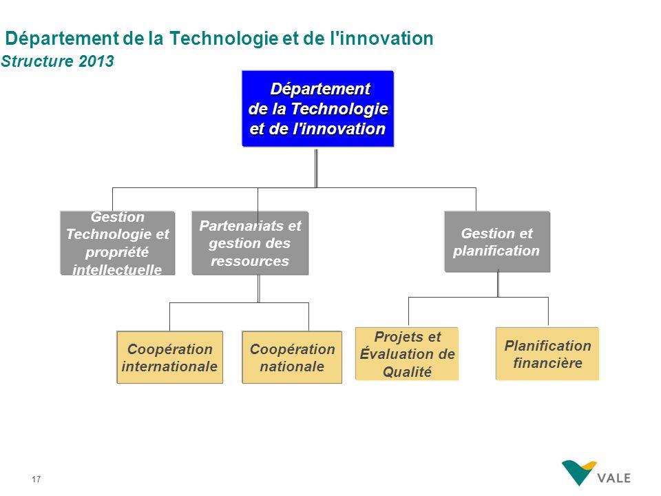 17 Département de la Technologie et de l'innovation Structure 2013 Projets et Évaluation de Qualité Planification financière Gestion Technologie et pr
