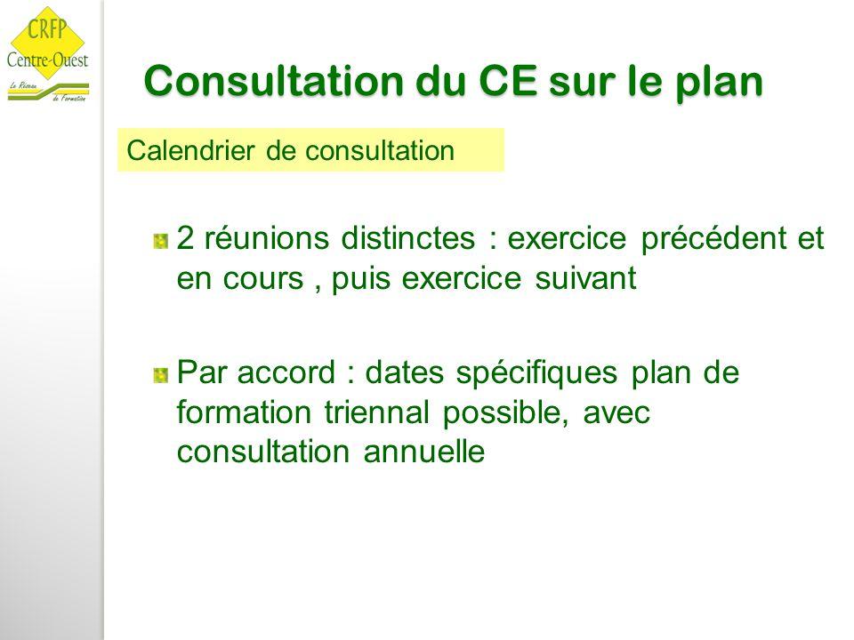 Consultation du CE sur le plan 2 réunions distinctes : exercice précédent et en cours, puis exercice suivant Par accord : dates spécifiques plan de fo