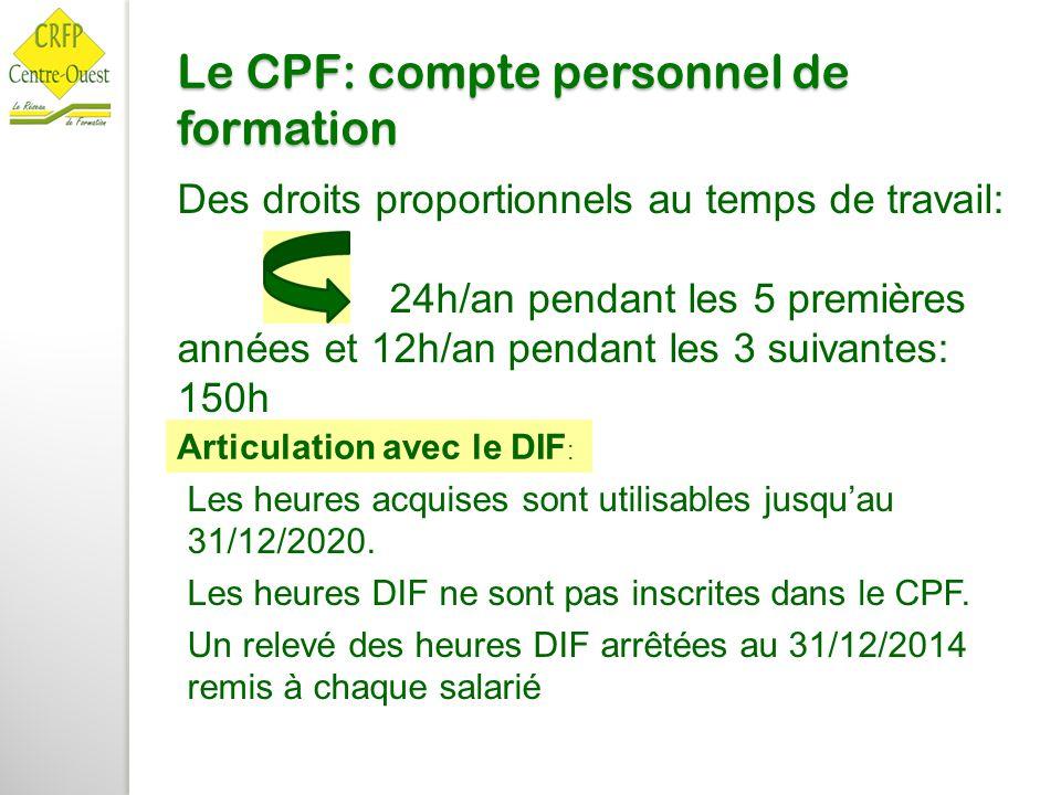 Le CPF: compte personnel de formation Des droits proportionnels au temps de travail: 24h/an pendant les 5 premières années et 12h/an pendant les 3 sui