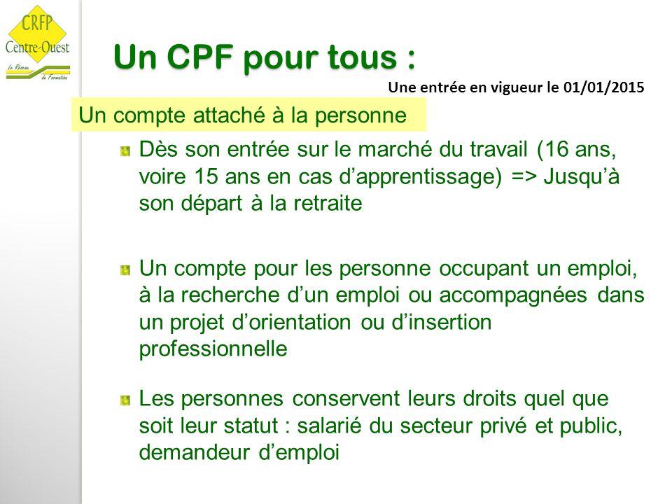 Un CPF pour tous : Dès son entrée sur le marché du travail (16 ans, voire 15 ans en cas d'apprentissage) => Jusqu'à son départ à la retraite Un compte