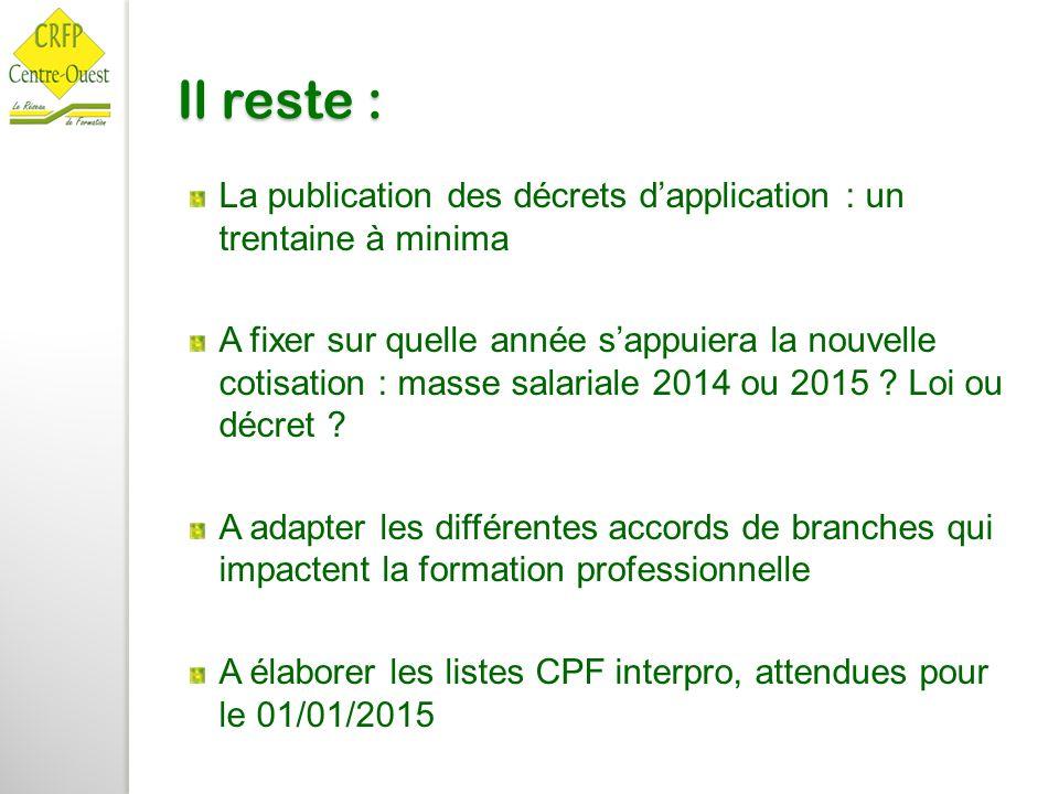 Il reste : La publication des décrets d'application : un trentaine à minima A fixer sur quelle année s'appuiera la nouvelle cotisation : masse salaria