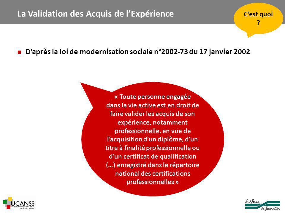 La Validation des Acquis de l'Expérience D'après la loi de modernisation sociale n°2002-73 du 17 janvier 2002 C'est quoi .