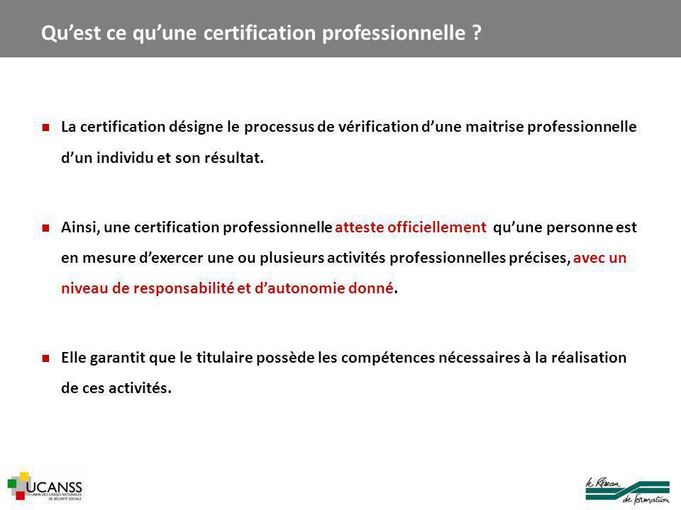 La certification désigne le processus de vérification d'une maitrise professionnelle d'un individu et son résultat.