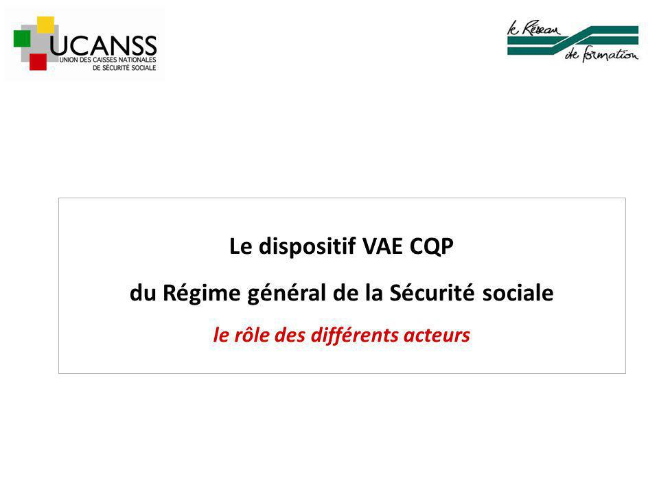 Le dispositif VAE CQP du Régime général de la Sécurité sociale le rôle des différents acteurs