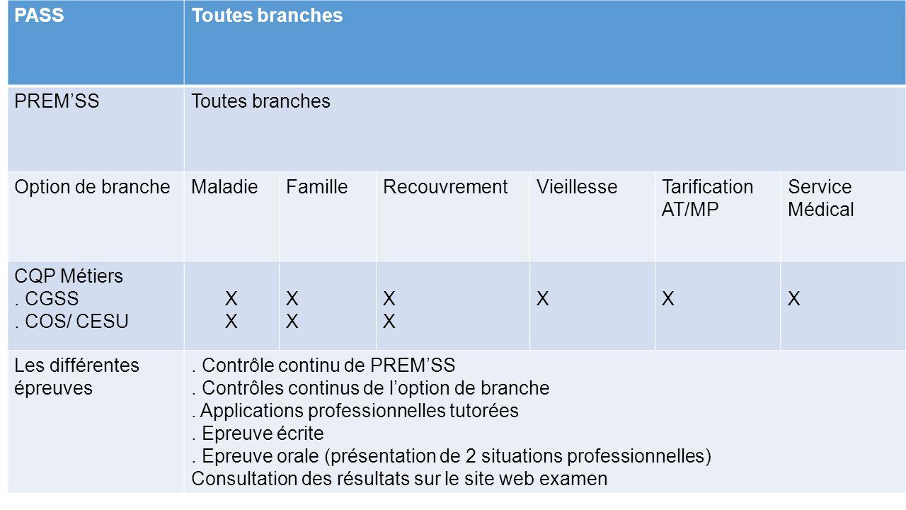 PASSToutes branches PREM'SSToutes branches Option de brancheMaladieFamilleRecouvrementVieillesseTarification AT/MP Service Médical CQP Métiers. CGSS.