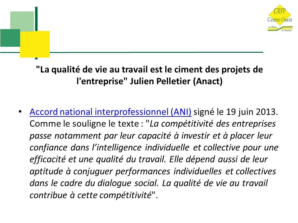 La qualité de vie au travail est le ciment des projets de l entreprise Julien Pelletier (Anact) Accord national interprofessionnel (ANI) signé le 19 juin 2013.