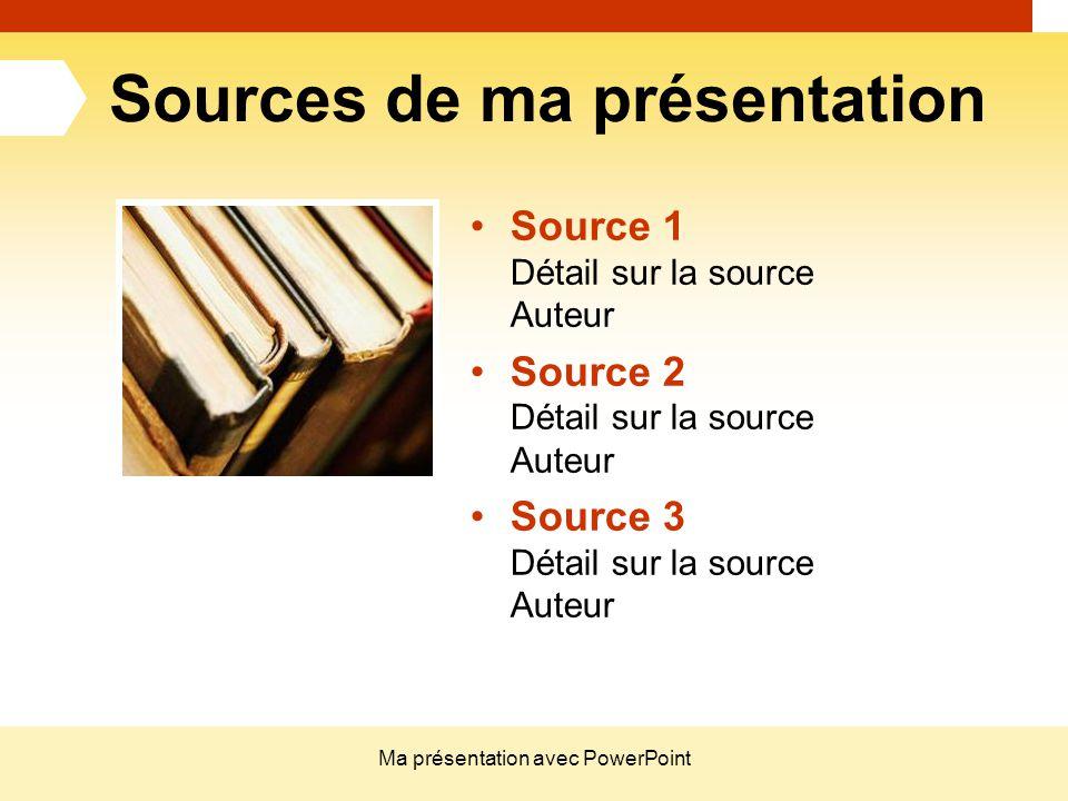 Ma présentation avec PowerPoint Sources de ma présentation Source 1 Détail sur la source Auteur Source 2 Détail sur la source Auteur Source 3 Détail s
